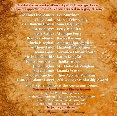 Stellar team of Donors and Supporters R. Califa's #Dancestory2013